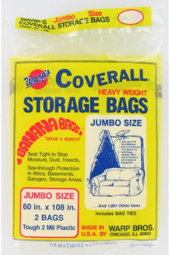 Warp Brothers Banana Bags Heavy Weight Jumbo Storage Bags - 2 Pack Perspective: front