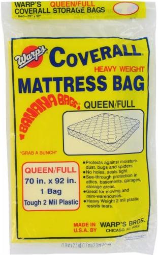 Warp's Queen/Full Coverall Plastic Mattress Bag Perspective: front