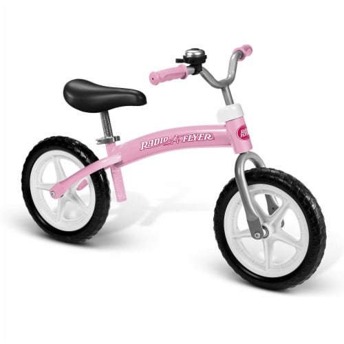 Radio Flyer 800X Glide and Go Age 2.5 to 5 Year Old Kids Balance Bike, Pink Perspective: front