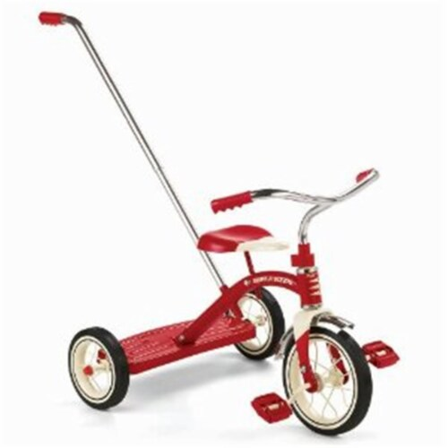 Radio Flyer 34T Classic Red 10'' Tricycle with  Push Handle Perspective: front