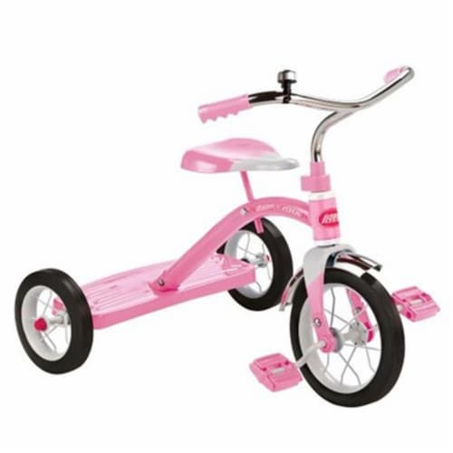Radio Flyer 34GX Kids Classic Steel Framed Tricycle with Handlebar Bell, Pink Perspective: front