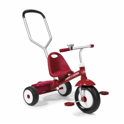 Radio Flyer Deluxe Steer and Stroll Kids Outdoor Recreation Bike Tricycle, Red Perspective: front