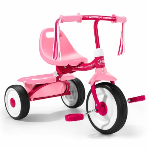 Radio Flyer 415PS Kids Readily Assembled Fold 2 Go Trike with Storage Bin, Pink Perspective: front