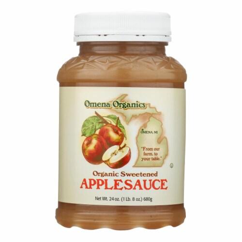 Omena Organics Apple Sauce - Organic - Sweetned - Case of 12 - 24 oz Perspective: front