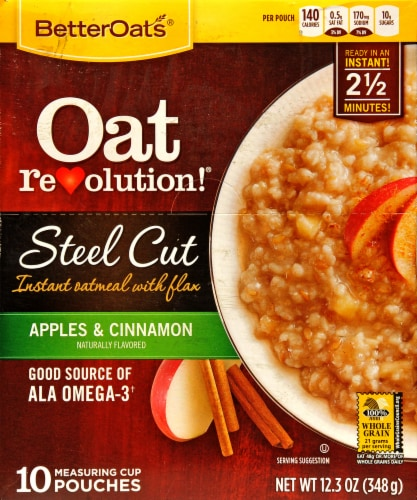 Better Oats Oat Revolution Steel Cut Apples & Cinnamon Instant Oatmeal with Flax Perspective: front