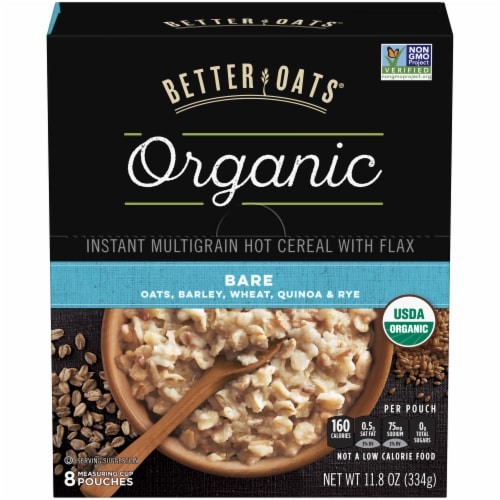Better Oats Organic Bare Instant Multigrain Hot Cereal 8 Count Perspective: front