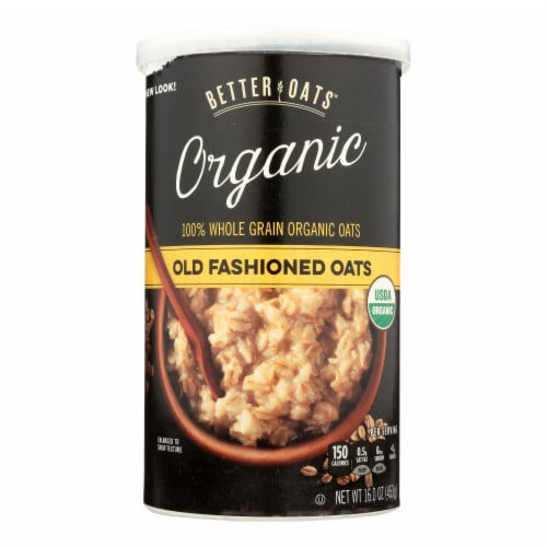Better Oats Organic Cereal - Old Fashioned Oats - Case of 12 - 16 oz. Perspective: front