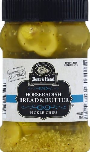 Boar's Head Horseradish Bread & Butter Pickle Chips Perspective: front