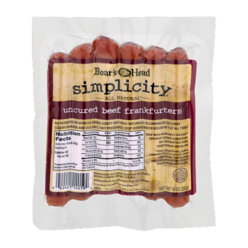 Boar's Head Simplicity All Natural Uncured Beef Frankfurters Perspective: front