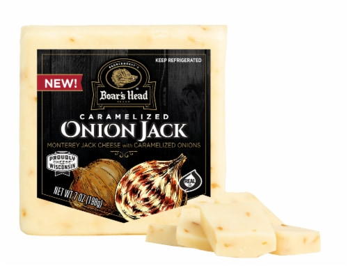 Boar's Head  Pre-Cut Caramelized Onion Monterey Jack Cheese Perspective: front