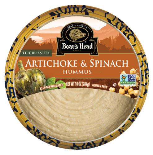 Boar's Head Fire Roasted Artichoke & Spinach Hummus Perspective: front