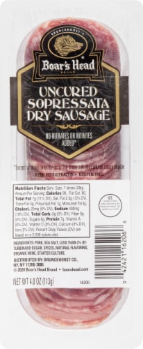 Boar's Head Sliced Sopressata Dry Sausage Perspective: front
