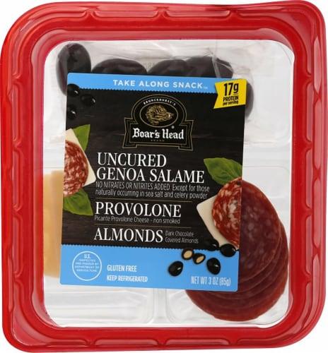 Boar's Head Genoa Salame Picante Provolone Cheese Almonds Take Along Snack Perspective: front