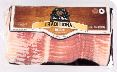 Boar's Head Traditional Naturally Smoked Sliced Bacon Perspective: front