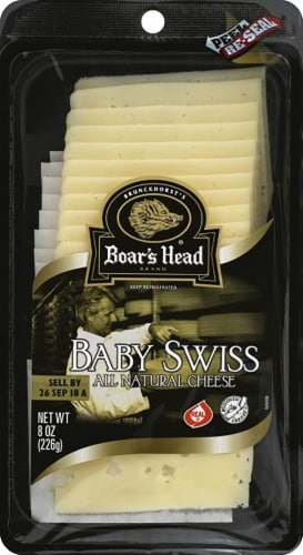 Boar's Head Pre-Sliced Baby Swiss Cheese Perspective: front