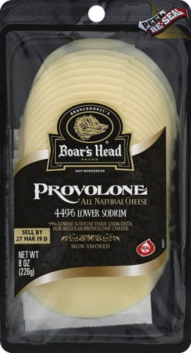 Boar's Head Pre-Sliced Lower Sodium Provolone Cheese Perspective: front