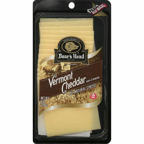 Boar's Head Pre-Sliced Vermont White Cheddar Cheese Perspective: front