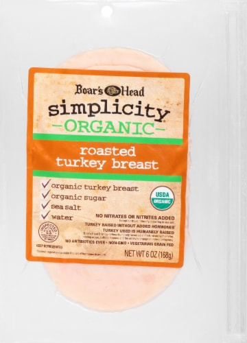 Boar's Head Simplicity Organic Roasted Turkey Breast Slices Perspective: front