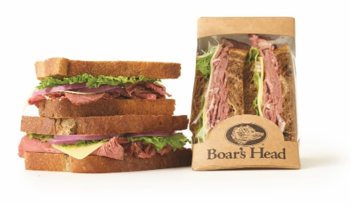 Boar's Head Grab N Go Handcrafted Pastrami Swiss on Rye Sandwich Perspective: front