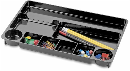 Officemate 9-Compartment Drawer Tray - Black Perspective: front