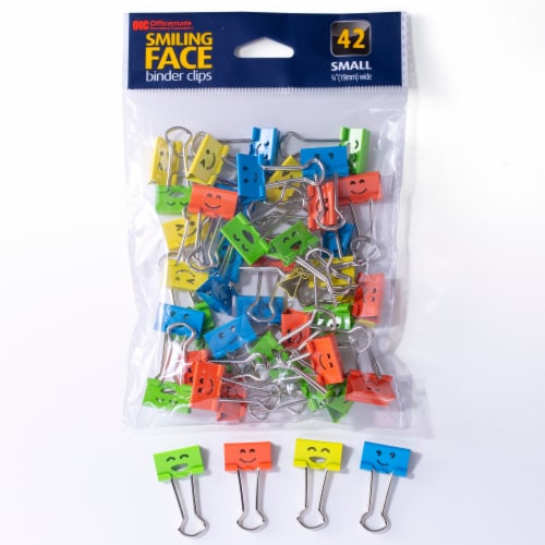 Officemate Smiling Face Binder Clips Perspective: front