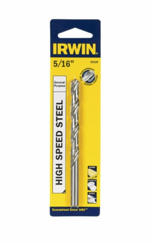 Irwin  5/16 in.  x 4-1/2 in. L High Speed Steel Drill Bit Perspective: front