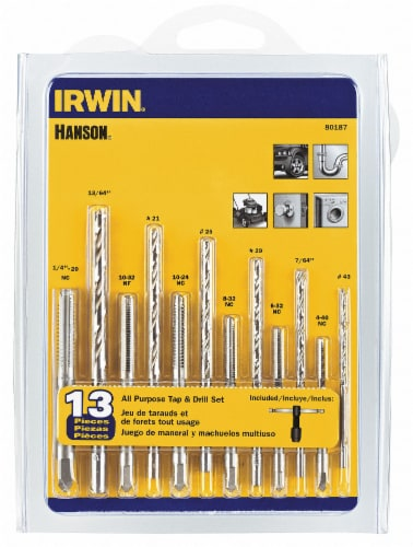 Irwin Hanson 13-Piece All-Purpose Tap & Drill Bit Set 80187 Perspective: front