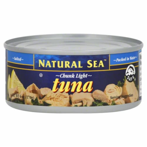 Natural Sea Chunk Light Tuna Salted In Water Perspective: front