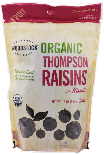 Woodstock Farms Organic Thompson Raisins Perspective: front