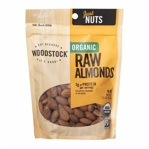 Woodstock Just Nuts Organic Raw Almonds Perspective: front