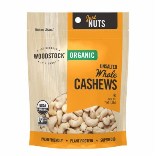 Woodstock Just Nuts Organic Whole Cashews Perspective: front