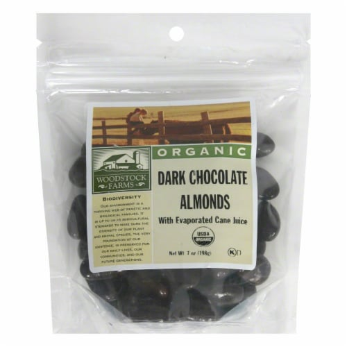 Woodstock Farms Organic Dark Chocolate Almonds Perspective: front