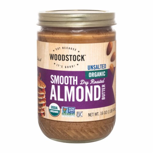 Woodstock Unsalted Organic Smooth Dry Roasted Almond Butter - 1 Each 1 - 16 OZ Perspective: front