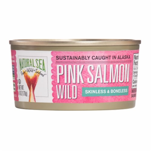 Natural Sea Wild Pink Salmon - Salted - Skinless & Boneless - 6 oz. Perspective: front