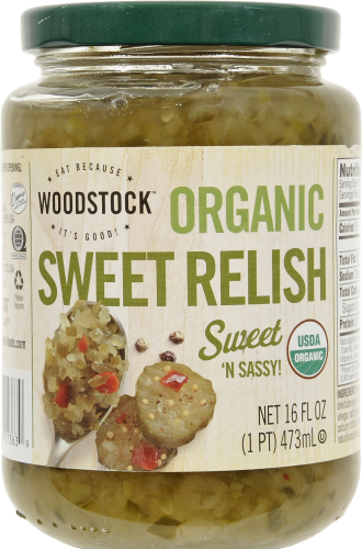 Woodstock Farms Organic Sweet Relish Perspective: front