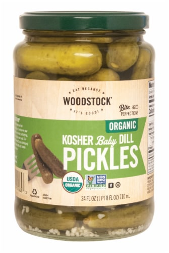 Woodstock Farms Organic Kosher Baby Dill Pickles Perspective: front