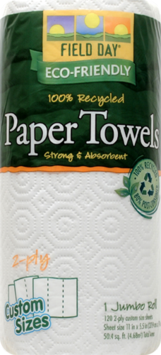 Field Day 100% Recycled Jumbo Paper Towel Rolls Perspective: front