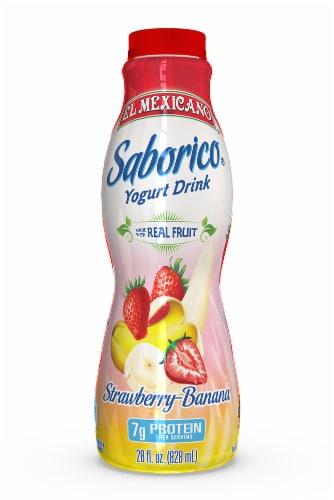 El Mexicano Saborico Strawberry Banana Yogurt Drink Perspective: front