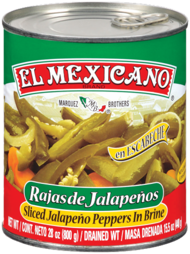 El Mexicano Sliced Jalapeno Peppers in Brine Perspective: front