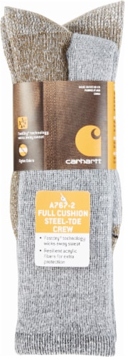 Carhartt® Men's Full-Cushion Steel-Toe Synthetic Work Book Socks - Heather Gray Perspective: front