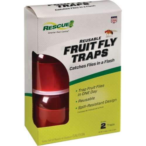 Rescue Reusable Fruit Fly Trap (2-Pack) FFTR2-BB4 Perspective: front