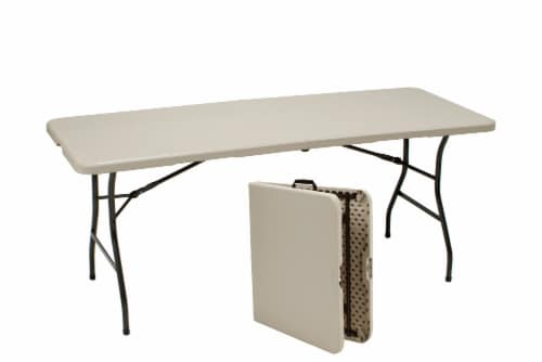 Sudden Solution Centerfold Utility Table - Cream/Mocha Perspective: front