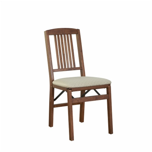Stakmore Simple Mission Wood Folding Chair - Fruitwood/Blush Perspective: front