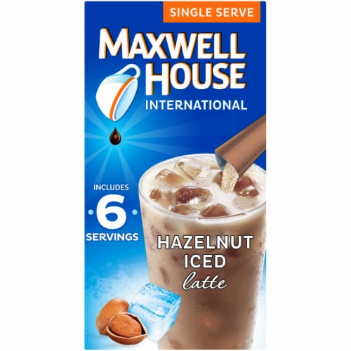 Maxwell House International Hazelnut Iced Latte Café-Style Beverage Mix Perspective: front