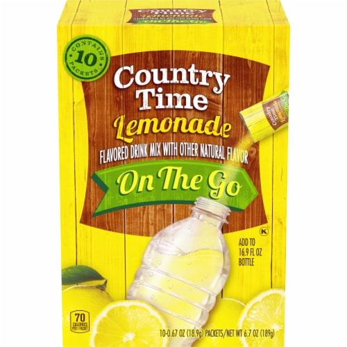Country Time Lemonade On The Go Drink Mix Packets Perspective: front