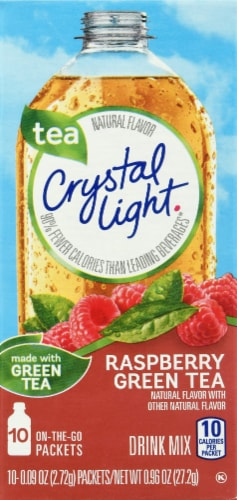 Crystal Light Rasperry Green Tea On-The-Go Drink Mix Packets Perspective: front