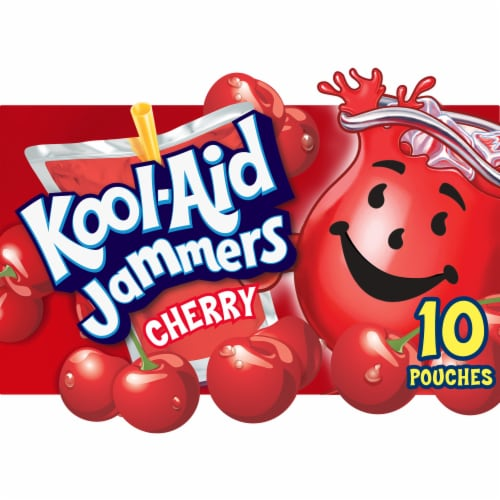 Kool-Aid Jammers Cherry Flavored Drink Pouches Perspective: front