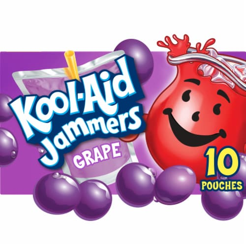 Kool-Aid Jammers Grape Flavored Drink Pouches Perspective: front