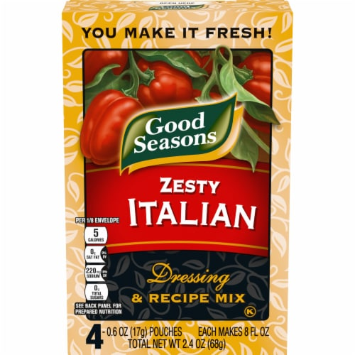 Good Seasons Zesty Italian Salad Dressing & Recipe Mix Packets 4 Count Perspective: front