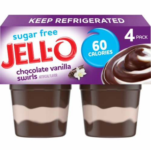 Jell-O Sugar Free Chocolate Vanilla Swirls Pudding Snacks Perspective: front